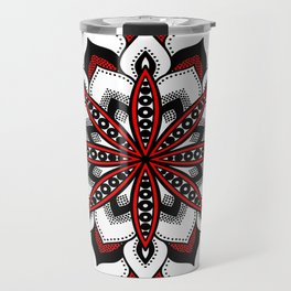 Mandala : Red Flower Mandala Travel Mug