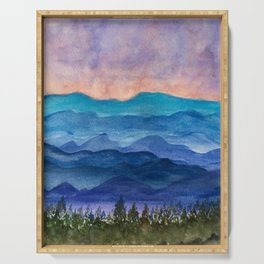 Blue Ridge Mountains Sunrise Original Watercolor Painting Serving Tray
