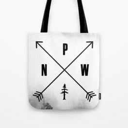 PNW Pacific Northwest Compass - Black and White Forest Tote Bag