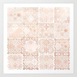MOROCCAN TILES ROSEGOLD Art Print