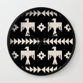 Southwestern Eagle and Arrow Pattern 121 Black and Linen White Wall Clock