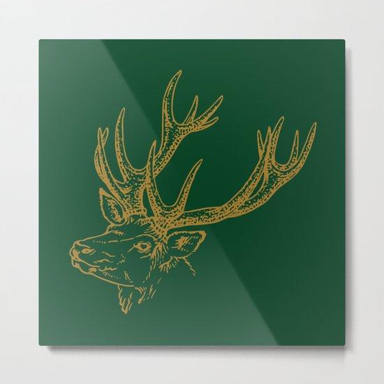 Deer Green Gold Metal Print