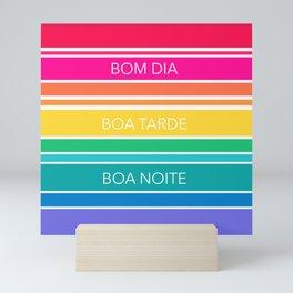 Neon Stripe Bom Dia Mini Art Print