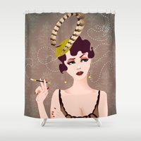 cigarette Shower Curtains featuring Cigarette Sigh by Limelight Illustration