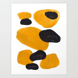 Mid Century Abstract Black & Yellow Fun Pattern Floating Mustard Bubbles Cheetah Print Art Print