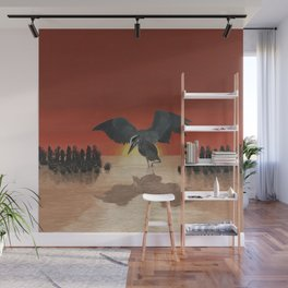 Blue Heron Reflection Wall Mural