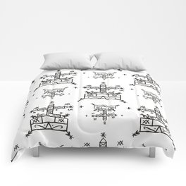 Baron Samedi Voodoo Veve Symbols in White Comforters