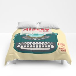 Misery, Horror, Movie Illustration, Stephen King, Kathy Bates, Rob Reiner, Classic book, cover Comforters