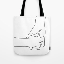 Holding hands mom and child Tote Bag