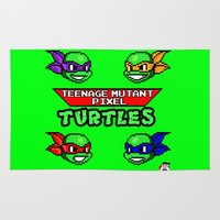 teenage mutant ninja turtles Area & Throw Rugs featuring Teenage Mutant Pixel Turtles by Rapsmyinitials