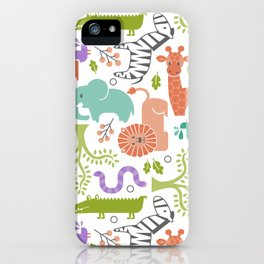 Zoo Pattern in Soft Colors iPhone Case