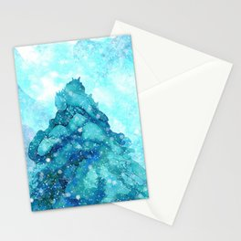 Snowy Landscape with a Giant Pine Stationery Cards