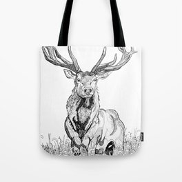 Deer in grass illustration / BW Tote Bag