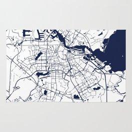 Amsterdam White on Navy Street Map Rug