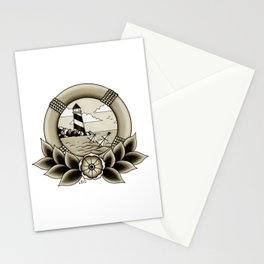 Ship Wreck Lighthouse Tattoo Stationery Cards