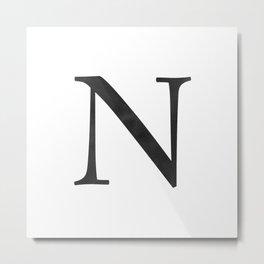 Letter N Initial Monogram Black and White Metal Print