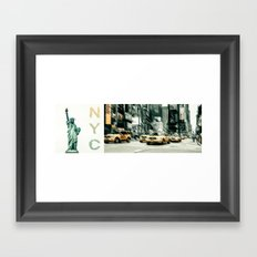 NYC - lady liberty & yellow cabs  Framed Art Print