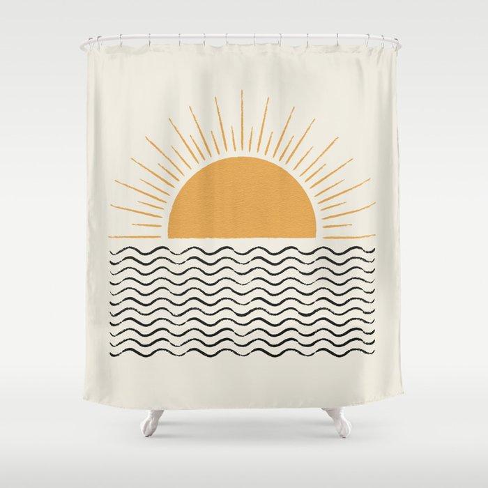 Sunrise Ocean -  Mid Century Modern Style Shower Curtain