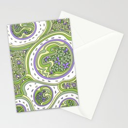Wandering Abstract Line Art 06: Green Stationery Cards