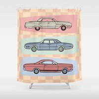 60s Shower Curtains featuring Motor Style Inc.: 60s American Heavy Metal by rylee