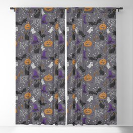 Halloween party symbols grey embroidery print Blackout Curtain