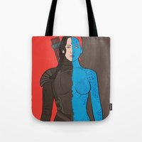 katniss Tote Bags featuring Katniss-Mystique by richoz