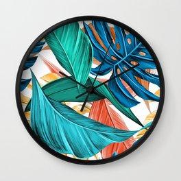 leaves tropical summer Wall Clock