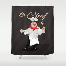 Le Chef Kitchen decor French chef with a mustache cartoon character illustration Shower Curtain