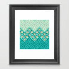Blue Garden Pattern Framed Art Print