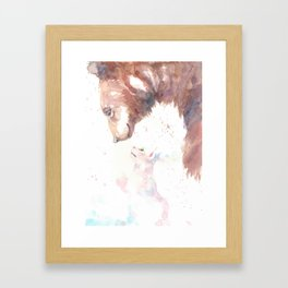 The bear, the cat and the tree of truth Framed Art Print