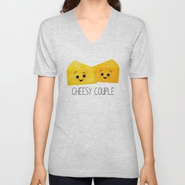 Cheesy Couple | Swiss & Cheddar Cheese Unisex V-Neck