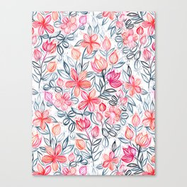Coral and Grey Candy Striped Crayon Floral Canvas Print
