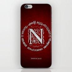 Joshua 24:15 - (Silver on Red) Monogram N iPhone & iPod Skin