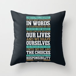 Lab No. 4 One's Philosophy Is Not Best Expressed Eleanor Roosevelt Life Inspirational Quote Throw Pillow