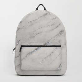 Marble Silver Glitter Glam #1 #shiny #gem #decor #art #society6 Backpack