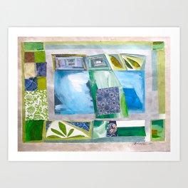 Blue-Green Quilt Art Print