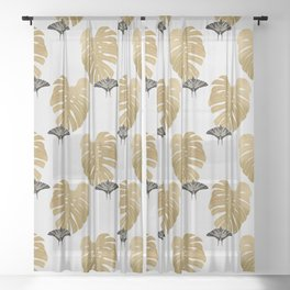 Botanical, Butterfly & Monstera Sheer Curtain