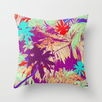 palm trees Throw Pillows featuring Palm Trees by Marcella Wylie