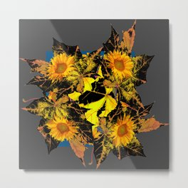 Grey Golden Yellow Fall Leaves Sunflower Black Design Metal Print