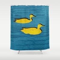 ducks Shower Curtains featuring Ducks by Brontosaurus