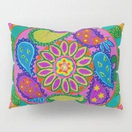 Paisley heart magic Mandala, acrylic painting on tile Pillow Sham