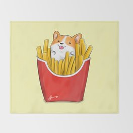 French Corgi Fries Throw Blanket