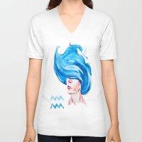 aquarius V-neck T-shirts featuring Aquarius by Aloke Design