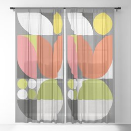 Mid Modern Geometric Bloom Sheer Curtain