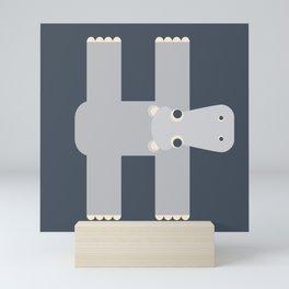 Letter H // Animal Alphabet // Hippo Monogram Mini Art Print