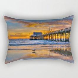 Low Tide Sunset Seagull at Newport Pier Rectangular Pillow