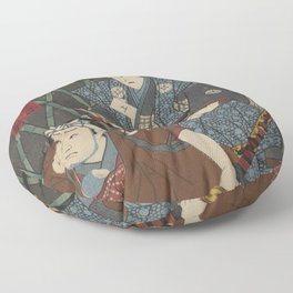 2 Samurais (Japanese soldiers) Ukiyo-e Floor Pillow