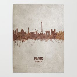 Paris France Rust Skyline Poster