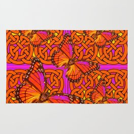 ORANGE MONARCH BUTTERFLIES CELTIC ART VIOLET COLOR Rug