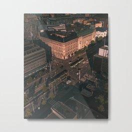 aerial photography city buildings Metal Print